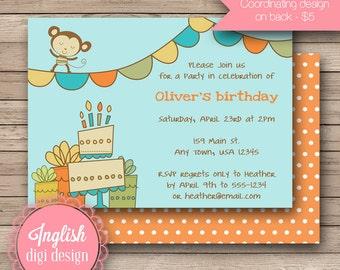 Printable Monkey Birthday Party Invitation, Monkey Birthday Party Invite, Monkey Party Invite - Whimsy Monkey in Blue, Green, Orange, Yellow