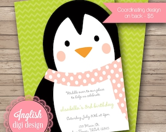 Printable Penguin Birthday Party Invitation, Penguin Birthday Party Invite, Penguin Party Invite - Penguins in Lime, Pink, Black