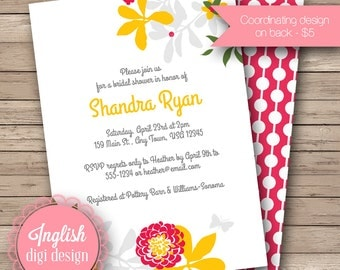 Floral Bridal Shower Invitation, Printable Bridal Shower Invitation, Floral Bridal Shower Invite - Organic Floral in Fuchsia, Yellow, Gray