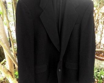 cashmere Oscar de la Renta Sportcoat, Black wool / Cashmere Blend, 46Regular