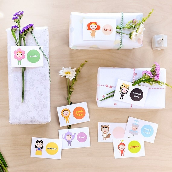 Happy Mini Hello Card Set of 9 // Stationary // Hello Cards // Mini Cards // Gift Cards // Party Favor Place Cards // Thank You
