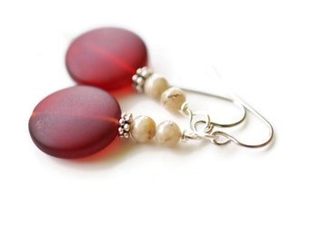 Red Sea Glass Earrings, Recycled Cultured Seaglass Earrings, Surgical Steel Earrings, Ruby Red Earrings, Feldspar Earrings