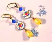 Vintage Earrings, Reclaimed, Upcycled, Blue, Red, Yellow, Cameo, Pierced, Dangle, Painted, Jennifer Jones, Boho, OOAK, Under 30 - Primary