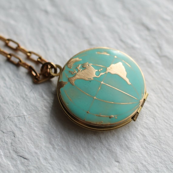 World map locket vintage brass globe by silkpursesowsear for Vintage sites like etsy