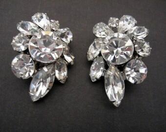 Vintage KRAMER Clear Rhinestone Earrings - Wedding - Bridal Earrings