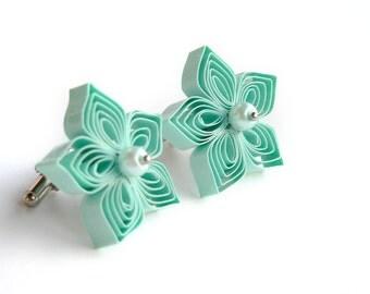 Mint Cufflinks, Mint Wedding Mens Accessories, Wedding Cufflinks, Customizable, Father of the Groom