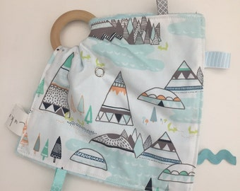 Fox in the Mountains minky Teething Taggie - Perfect Baby Shower Gift!