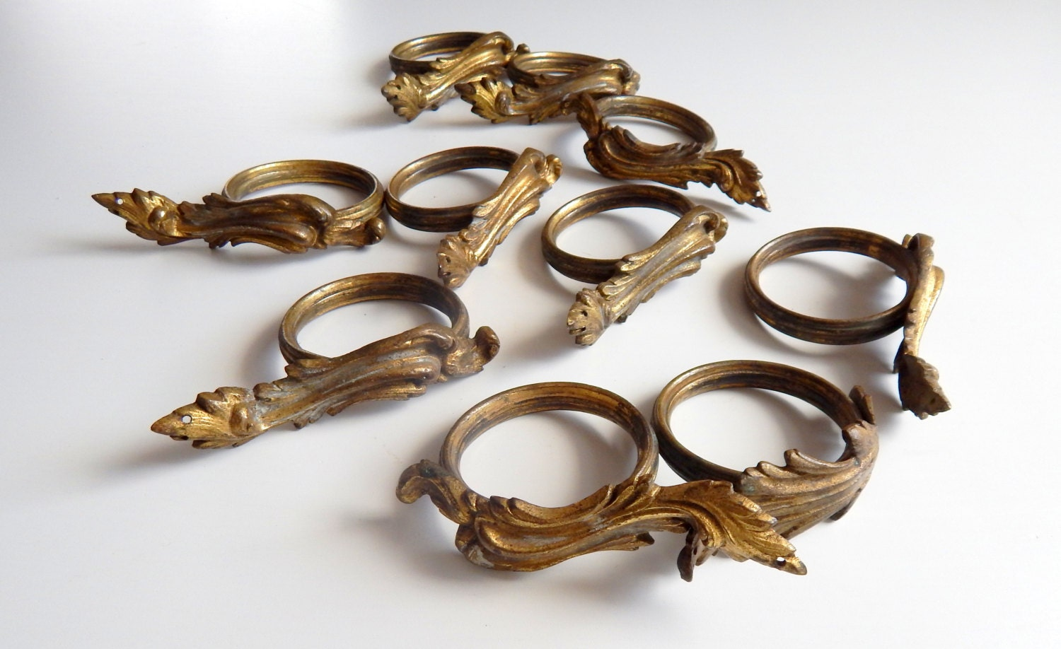 Antique French Curtain Rings 10 Rings Very By Vintagefrenchlinens