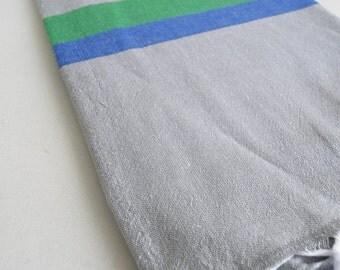 SALE 50 OFF/ Turkish Beach Bath Towel / Classic Peshtemal / Gray Blue Turquoise / Wedding Gift, Spa, Swim, Pool Towels and Pareo