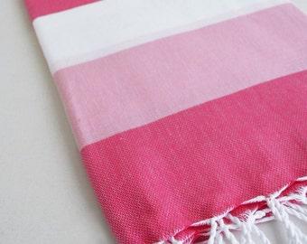SALE 50 OFF/ Turkish Beach Bath Towel / Classic Peshtemal / Pink White / Wedding Gift, Spa, Swim, Pool Towels and Pareo