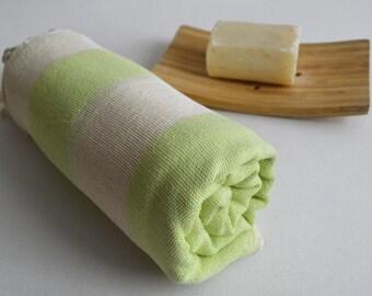 Turkish BATH Towel Peshtemal - Linen - Fluorescent Green - Beach, Spa, Swim, Pool Towels and Pareo