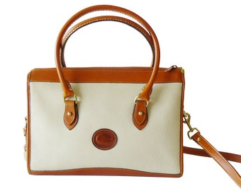 Authentic Dooney & Bourke Bone AWL Satchel Shoulder Bag XL