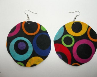 Fabric circle round bold colorful big polka dots geometrical abstract earrings yellow orange blue purple red fashionable stylish art pop 3""