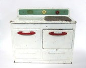 Vintage Toy Stove Oven Range Childs Empire Little Lady Metal Ware Corp Play Kitchenware White Red Jadite Green