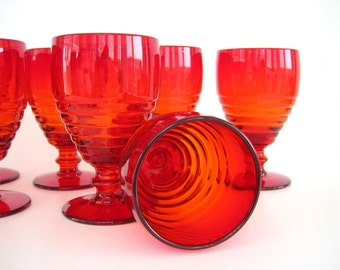Vintage Ruby Red Goblets Amberina Paden City Penny Line Water Wine Glasses Beehive Stemware Set 4
