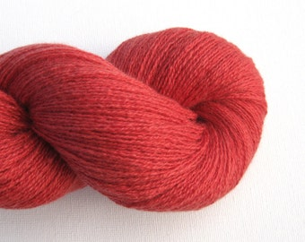 Lace Weight Cashmere Silk Blend Recycled Yarn, Muted Coral Red, Lot 050715