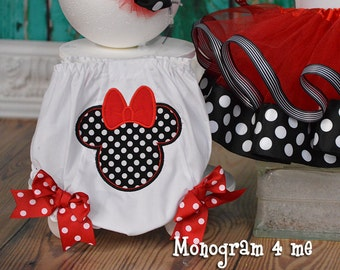 Minnie Mouse 1st Birthday Bloomers, Polka dot Diaper Cover, panties, underwear
