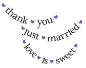 SHIPS PRIORITY.  3 Banners.  thank you / just married / love is sweet.  Wedding Decorations.  Photo Prop.  5280 Bliss.