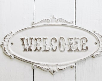 White WELCOME Sign Plaque-Rustic Cast Iron - Old Fashioned-French- Front Door -Metal Wall Decor -Wedding Gift-Nautical-Chippy-New Business