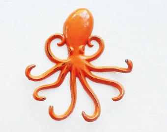 Bright Octopus Key Hook-Orange -Beach House Decor-Coastal Decor-Wall Hanging-Key Hanger-Summer Collection-Patio
