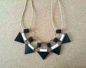 Statement Necklace-Black and White, Leather Necklace, Gift Idea