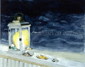 Ocean at Night, Seashells Lit by Glowing White Lantern, Elegant, Beach with Waves, Dusk, Nautical Watercolor Painting Print- Ocean Lookout