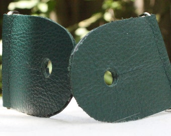 """2"""" Forest Green Guitar Strap Kit - Leather ends, Nickel slider"""