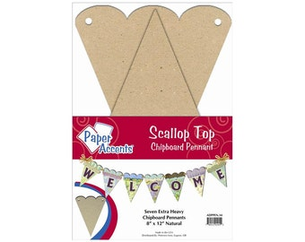 Scallop Top Chipboard Pennants great for Projects, Birthday Banner, Wedding Banner