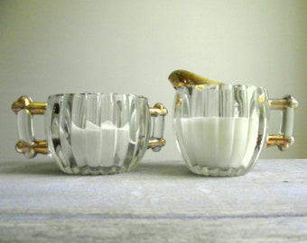 Jeannette Cream and Sugar Set , Pressed Glass with Gold , Creamer and Open Sugar Bowl , Vintage 1940s Glass , Vintage Home , Vintage Table