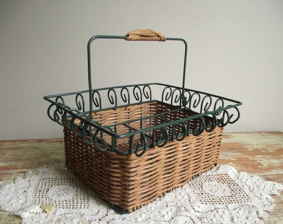 Vintage Kitchen Caddy Divided Basket Wire Rattan Basket