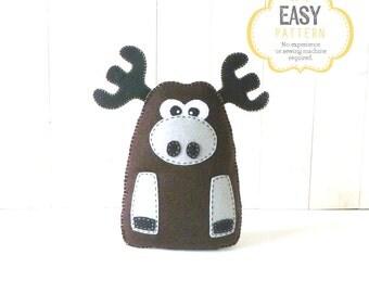 Moose Sewing Pattern, Plush Felt Moose Stuffed Animal Sewing Pattern, Instant Download PDF, Woodland Animal Pattern