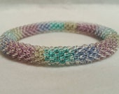 Watercolor Bead Crochet Bangle - Ready to Ship