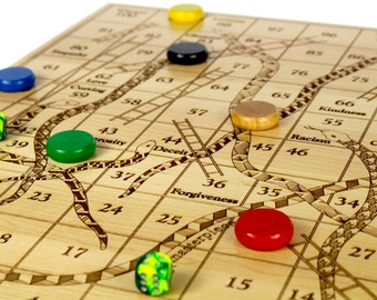 """Large Snakes and Ladders, 19"""" x 19"""", and is over 3/4""""D, Solid Maple Board, Up to 6 Players, Classic Board Game, Paul Szewc, Masterpiece"""