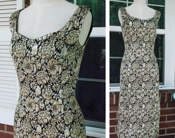 1960s - black silver and gold lurex  threaded brocade wiggle dress - size S