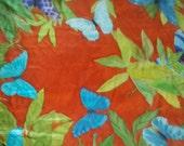 SOLD SALE handpainted silk scarf/ morpho butterflies/ banana leaves/ OOAK