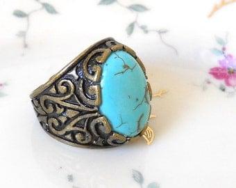 turquoise boho ring bronze ring bronze adjustable ring turquoise ring turquoise jewelry gemstone jewelry gemstone ring howlite turquoise