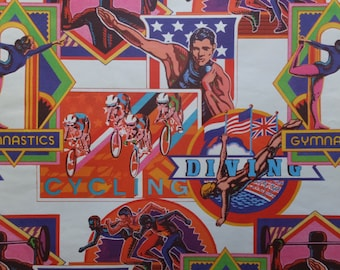 Vintage USA Olympics Diving Gymnastics Cycling Gift Wrap Wrapping Paper