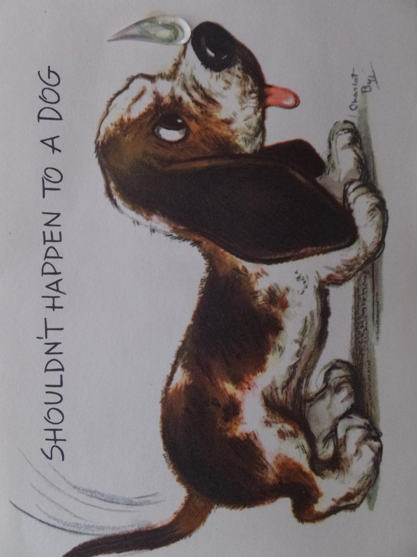 Vintage Charlot Byj Beagle Puppy Get Well Greeting Card Unused