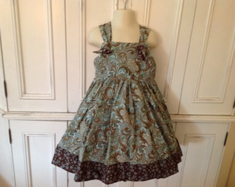 SAMPLE SALE Boutique Knot DRESS size 5, turquoise and brown