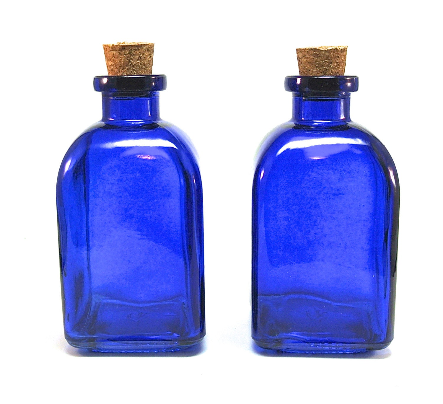 2 Blue Glass Bottles With Corks 250ml 8 5 Ounce Cobalt Reed