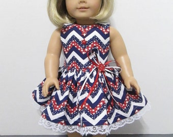 American Girl or 18 Inch Doll Clothes / 2pc.Patriotic Stars are Forever Chevron Sleeveless Party Dress with Coordinating Hair Bow