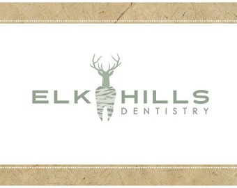 PreMade Logo Design - PreDesigned Logo - Custom Logo - Vector Logo - OOAK ELK HILLS Logo - Elk Logo - Tooth Logo - Dentist Logo
