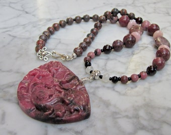 Peony - Natural Pink Rose Wine Stone and Crystal Heart Chakra Balancing Necklace with Carved Rhodonite Floral Pendant