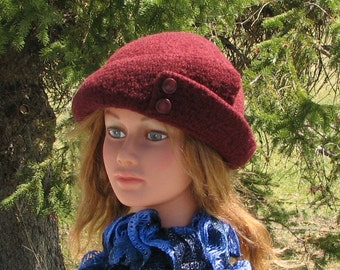 Current Berry Maroon Red Knit Felt Wool Hat Split Brim
