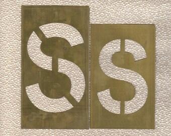 Stencil Letter S 6 inch Brass Stencil