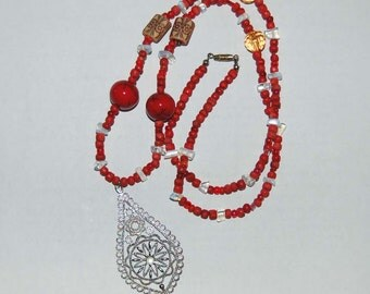 Long Red Beaded Necklace with Silver Filigree Pendant