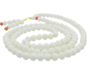 108 8mm Tridacna Shell Tibetan Buddhist Prayer Beads Rosary Japa Mala  ZZ361
