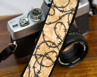 Camera Straps - DSLR Camera Strap - Barbed Wire - Cowgirl Gifts - Camera Accessories - Padded Camera Strap- Photographer Gift - Barbed Wire