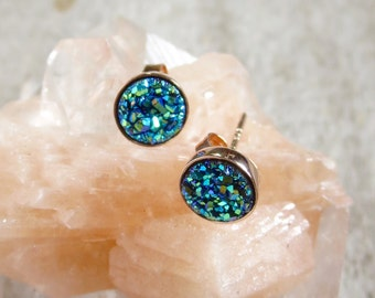 Tiny Green Druzy Studs in Rose Gold, Drusy Earrings, Drusy Studs, Druzy Jewelry, Rose Gold Studs, Rose Gold Earrings, Bridesmaid Jewelry