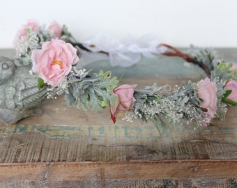 bridal headband ,Flower Crown Rose,Wedding,  Ivory or white, Tiara, Bridal Hair Wreath, head wreath, fairy, woodland -MARY- by DeLoop